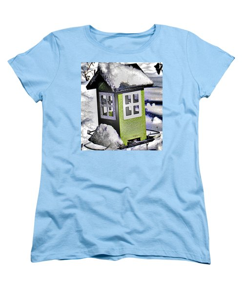 Women's T-Shirt (Standard Cut) featuring the photograph Winter Birdfeeder by Nina Silver