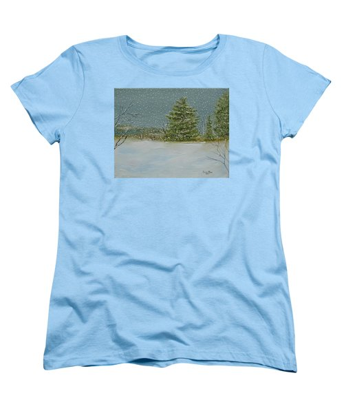 Women's T-Shirt (Standard Cut) featuring the painting Winter Blanket by Judith Rhue