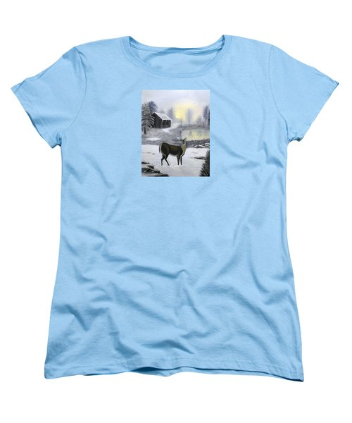 Women's T-Shirt (Standard Cut) featuring the painting Winter Doe by Sheri Keith