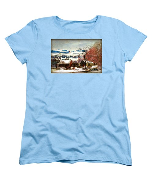 Women's T-Shirt (Standard Cut) featuring the digital art Winter In The Country Folk Art by Lianne Schneider
