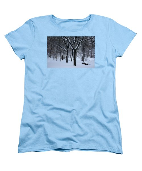 Women's T-Shirt (Standard Cut) featuring the photograph Winter In The Park by Dora Sofia Caputo Photographic Art and Design