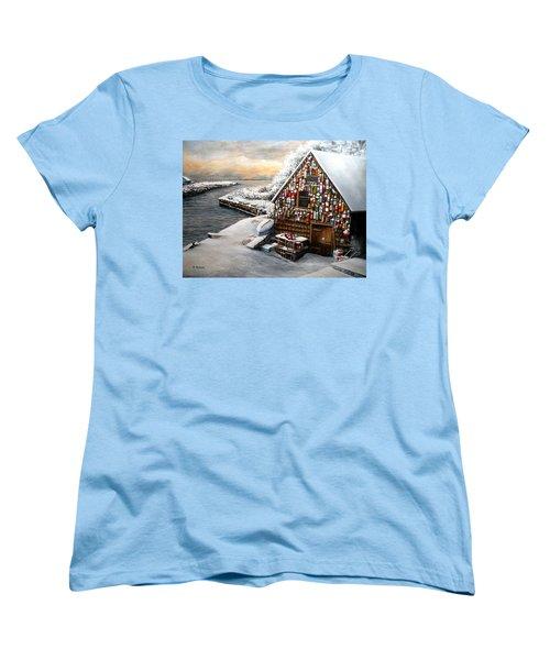 Winter Ipswich Bay Wooden Buoys  Women's T-Shirt (Standard Cut) by Eileen Patten Oliver