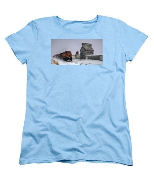 Winter Mixed Freight Through Castle Rock Women's T-Shirt (Standard Cut) by Ken Smith