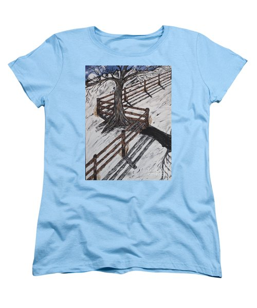 Winter Moon Shadow Women's T-Shirt (Standard Cut) by Jeffrey Koss