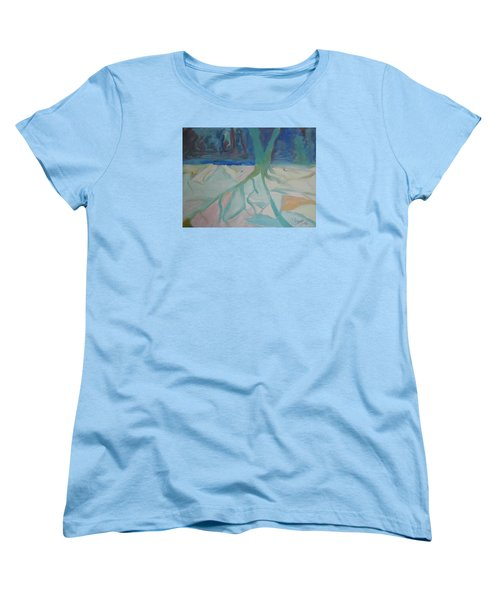 Women's T-Shirt (Standard Cut) featuring the painting Winter Night Shadows by Francine Frank