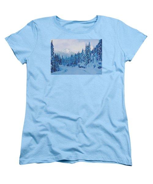 Women's T-Shirt (Standard Cut) featuring the painting Winter Road by Sophia Schmierer