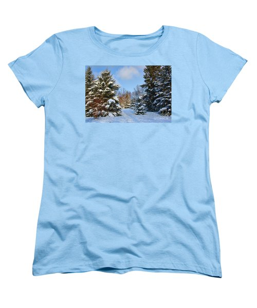 Women's T-Shirt (Standard Cut) featuring the photograph Winter Scenery by Teresa Zieba