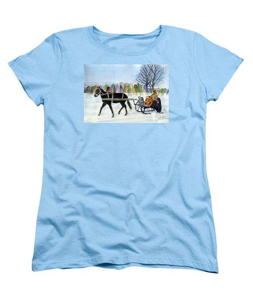 Women's T-Shirt (Standard Cut) featuring the painting Winter Sleigh Ride by Carol Flagg