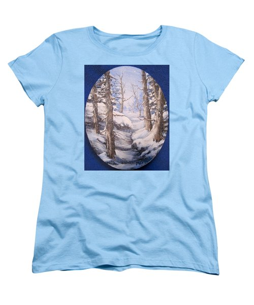 Women's T-Shirt (Standard Cut) featuring the painting Winter Snow by Megan Walsh