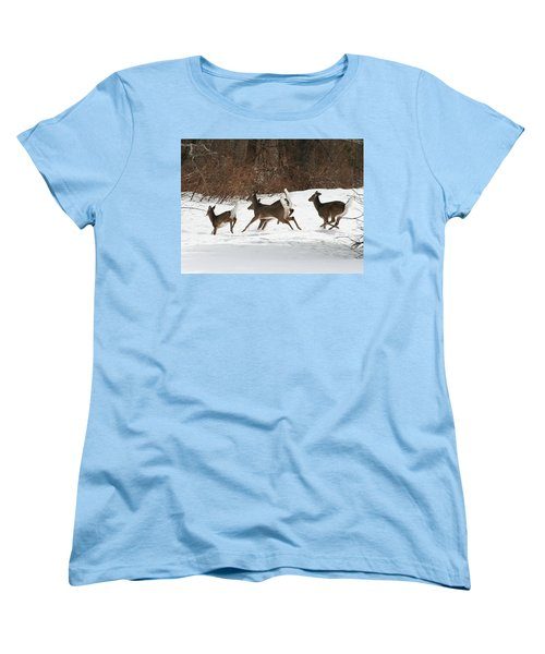White Tailed Deer Winter Travel Women's T-Shirt (Standard Cut) by Neal Eslinger
