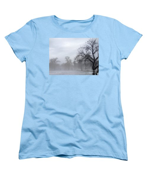 Women's T-Shirt (Standard Cut) featuring the photograph Winter Trees With Mist by Jeannie Rhode