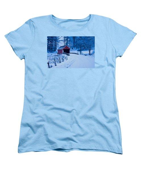 winter Vermont covered bridge Women's T-Shirt (Standard Cut) by Jeff Folger
