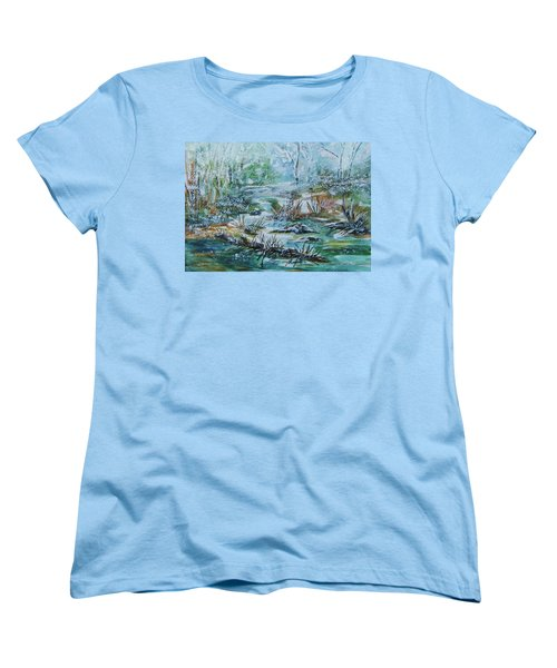 Women's T-Shirt (Standard Cut) featuring the painting Winter Whispers On Catskill Creek by Ellen Levinson