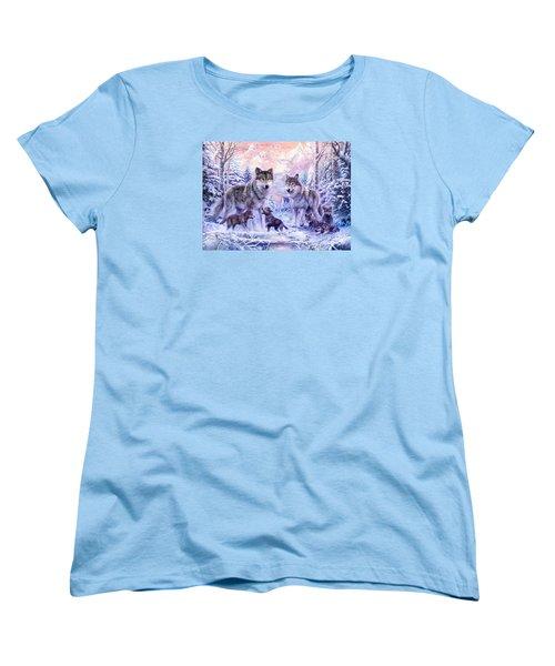 Winter Wolf Family  Women's T-Shirt (Standard Cut) by Jan Patrik Krasny