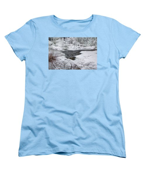 Women's T-Shirt (Standard Cut) featuring the photograph Vermillion Falls Winter Wonderland by Patti Deters