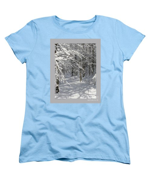 Women's T-Shirt (Standard Cut) featuring the photograph Wintery Woodland Shadows by Patricia Overmoyer