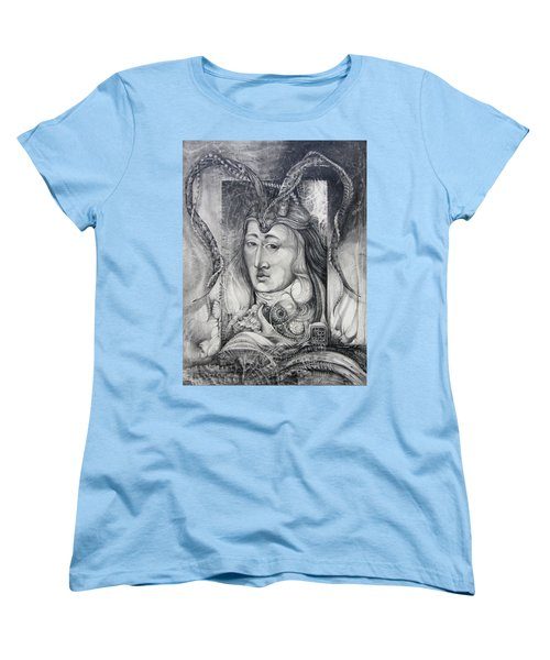 Women's T-Shirt (Standard Cut) featuring the drawing Wizard Of Bogomil's Island - The Fomorii Conjurer by Otto Rapp