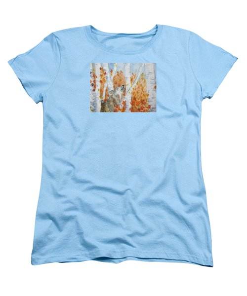 Women's T-Shirt (Standard Cut) featuring the painting Wolf Call by Ellen Levinson