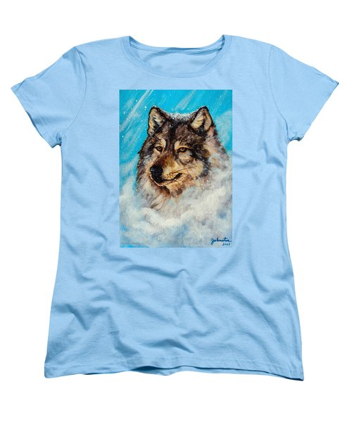 Women's T-Shirt (Standard Cut) featuring the painting Wolf In A Snow Storm by Bob and Nadine Johnston