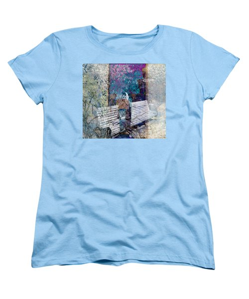 Women's T-Shirt (Standard Cut) featuring the digital art Woman On A Bench by Cathy Anderson