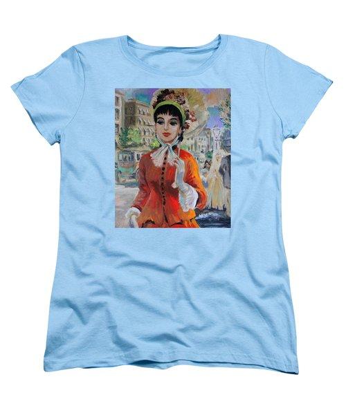 Woman With Parasol In Paris Women's T-Shirt (Standard Cut) by Karon Melillo DeVega