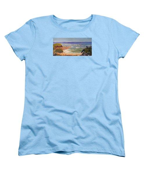 Women's T-Shirt (Standard Cut) featuring the painting Wombarra Beach by Pamela  Meredith