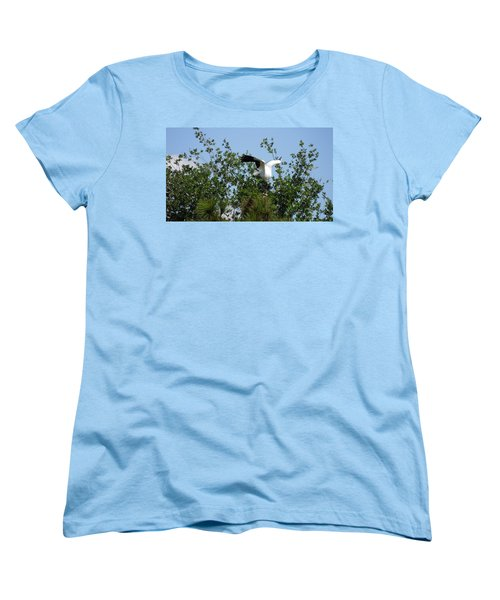 Women's T-Shirt (Standard Cut) featuring the photograph Wood Stork by Ron Davidson