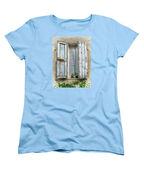 Wooden Shutters In Urbino Women's T-Shirt (Standard Cut) by Jennie Breeze