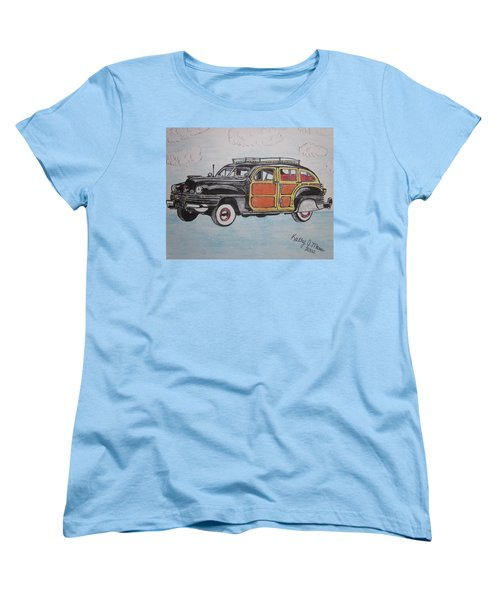 Women's T-Shirt (Standard Cut) featuring the painting Woodie Station Wagon by Kathy Marrs Chandler