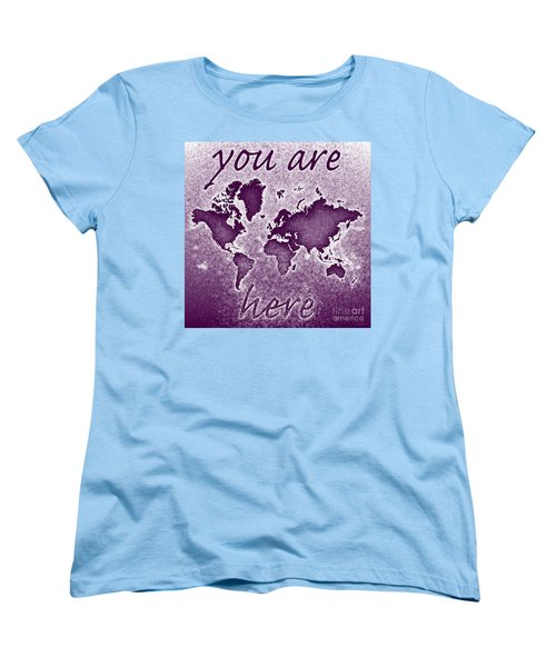 World Map You Are Here Novo In Purple Women's T-Shirt (Standard Cut) by Eleven Corners