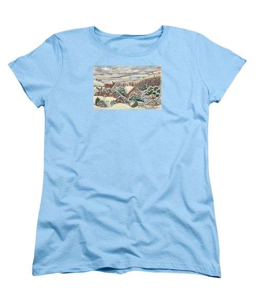 Wyoming Christmas Women's T-Shirt (Standard Cut) by Dawn Senior-Trask