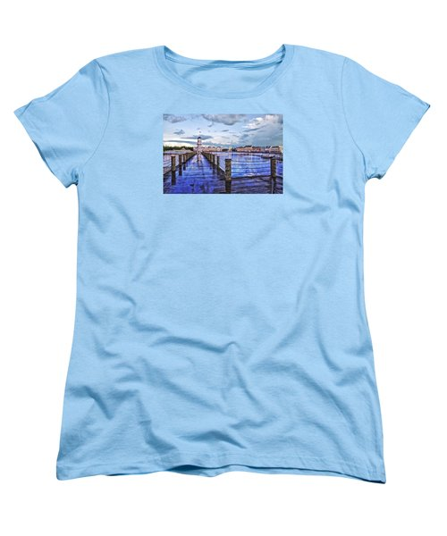 Yacht And Beach Club Lighthouse Women's T-Shirt (Standard Cut) by Thomas Woolworth