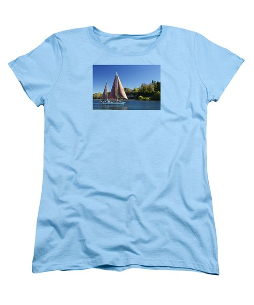 Yacht Fearless On Lake Taupo  Women's T-Shirt (Standard Cut) by Venetia Featherstone-Witty