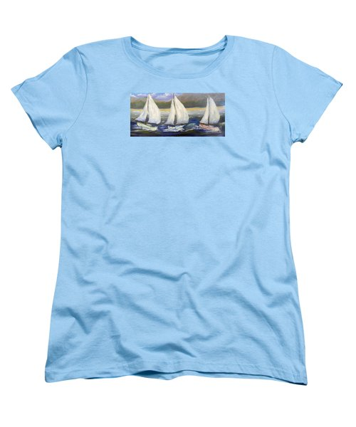 Yachts Sailing Off The Coast Women's T-Shirt (Standard Cut)