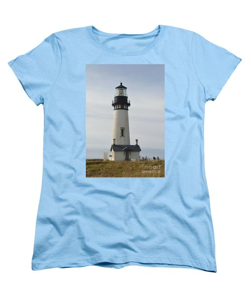 Women's T-Shirt (Standard Cut) featuring the photograph Yaquina Bay Lighthouse by Susan Garren