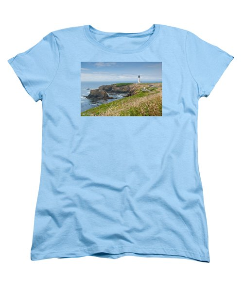 Women's T-Shirt (Standard Cut) featuring the photograph Yaquina Head Lighthouse by Jeff Goulden