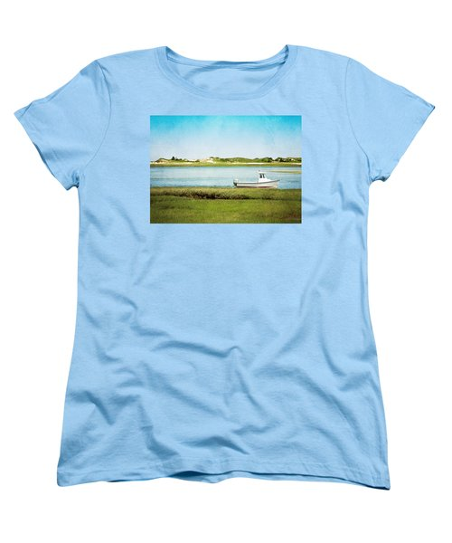 Women's T-Shirt (Standard Cut) featuring the photograph Yarmouth Port Fishing Boat In Green And Blue by Brooke T Ryan