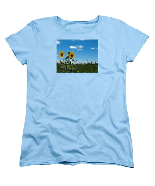 Yellow Flower On Blue Sky Women's T-Shirt (Standard Cut) by Photographic Arts And Design Studio
