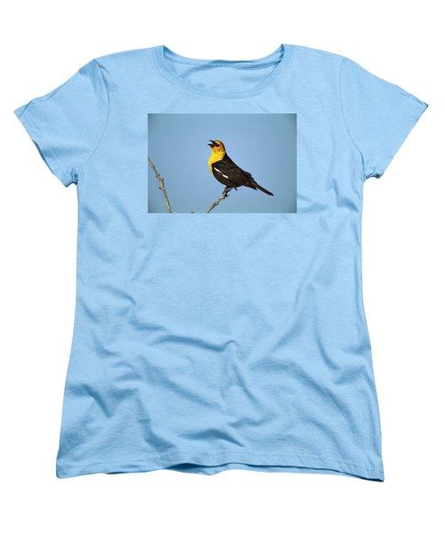 Yellow-headed Blackbird Singing Women's T-Shirt (Standard Cut) by Tom Vezo