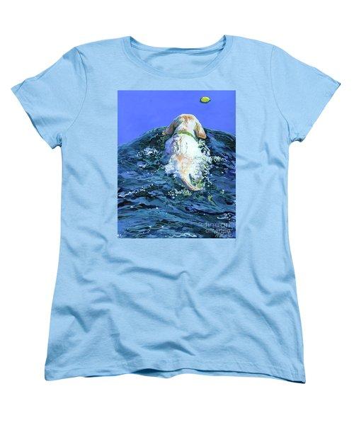 Yellow Lab  Blue Wake Women's T-Shirt (Standard Cut) by Molly Poole