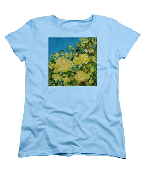 Women's T-Shirt (Standard Cut) featuring the painting Yellow Roses by Judith Rhue