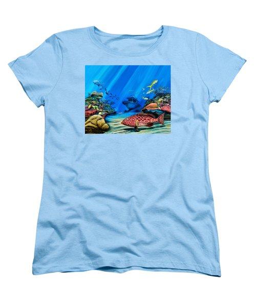 Yellowfin Grouper Wreck Women's T-Shirt (Standard Cut) by Steve Ozment