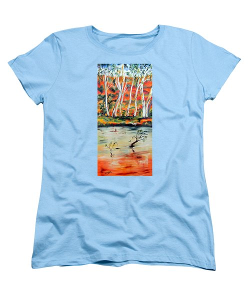 Women's T-Shirt (Standard Cut) featuring the painting  Aussiebillabong by Roberto Gagliardi