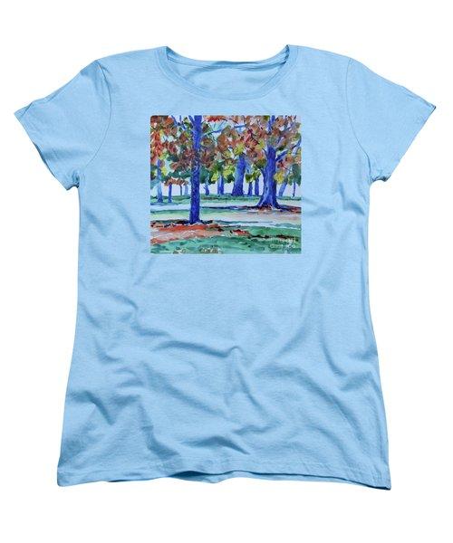 Fall In My Backyard Women's T-Shirt (Standard Cut) by Jan Bennicoff