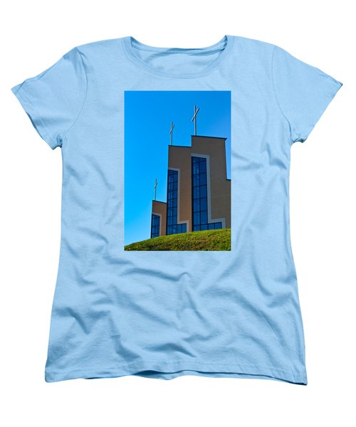 Women's T-Shirt (Standard Cut) featuring the photograph Crosses Of Livingway Church by Ed Gleichman