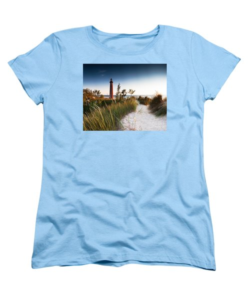 Little Sable Point Light Station Women's T-Shirt (Standard Cut) by Larry Carr