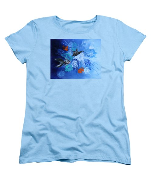 Women's T-Shirt (Standard Cut) featuring the painting Richies Fish by Wendy Shoults