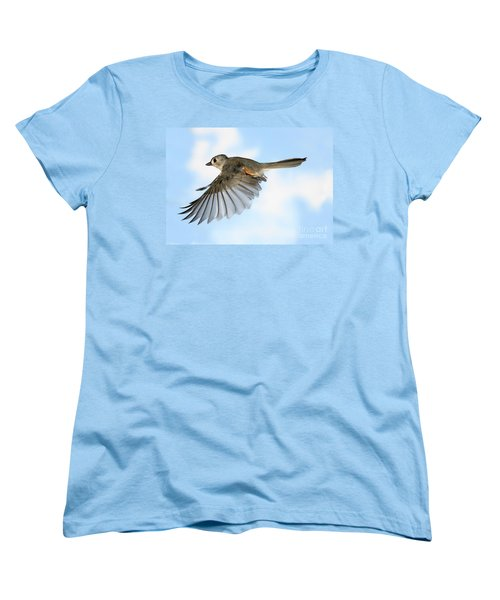 Tufted Titmouse In Flight Women's T-Shirt (Standard Cut) by Ted Kinsman