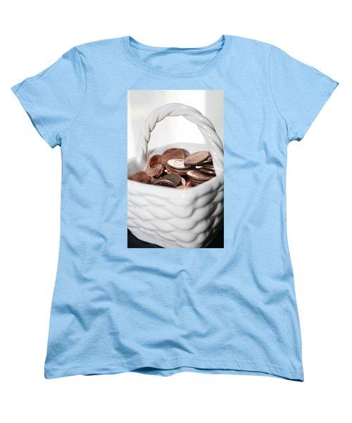 Women's T-Shirt (Standard Cut) featuring the photograph A Basket Of Pennies by Ester  Rogers