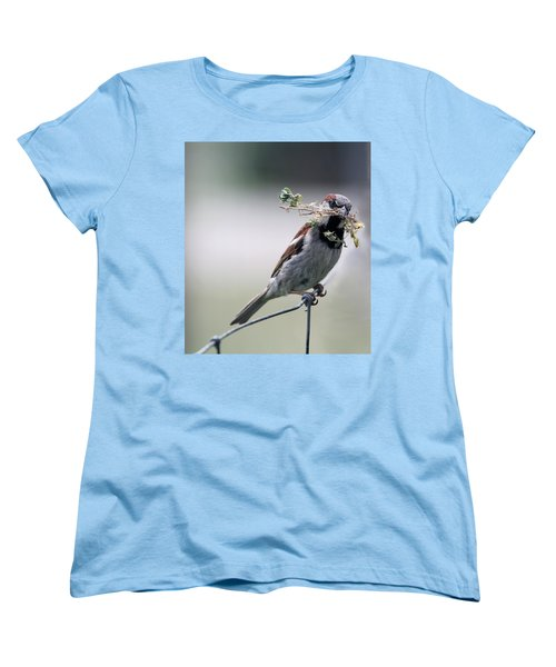 Women's T-Shirt (Standard Cut) featuring the photograph A Bird And A Twig by Elizabeth Winter